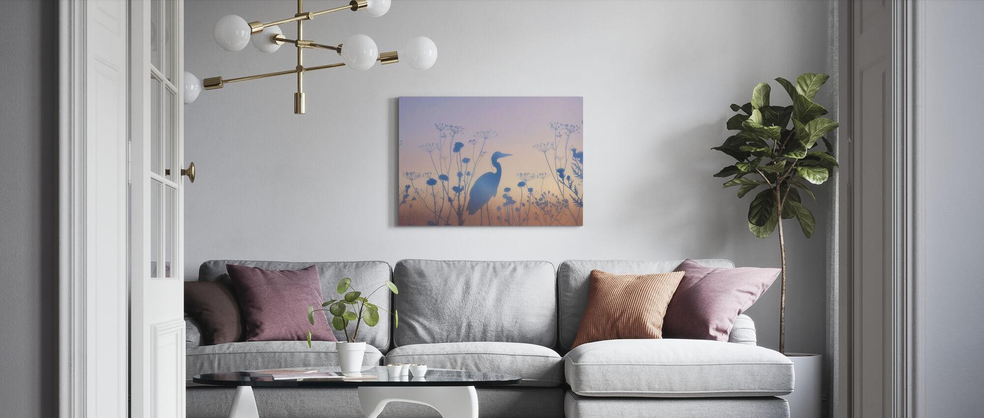 Blue Dawn Silhouettes - Canvas print - Living Room