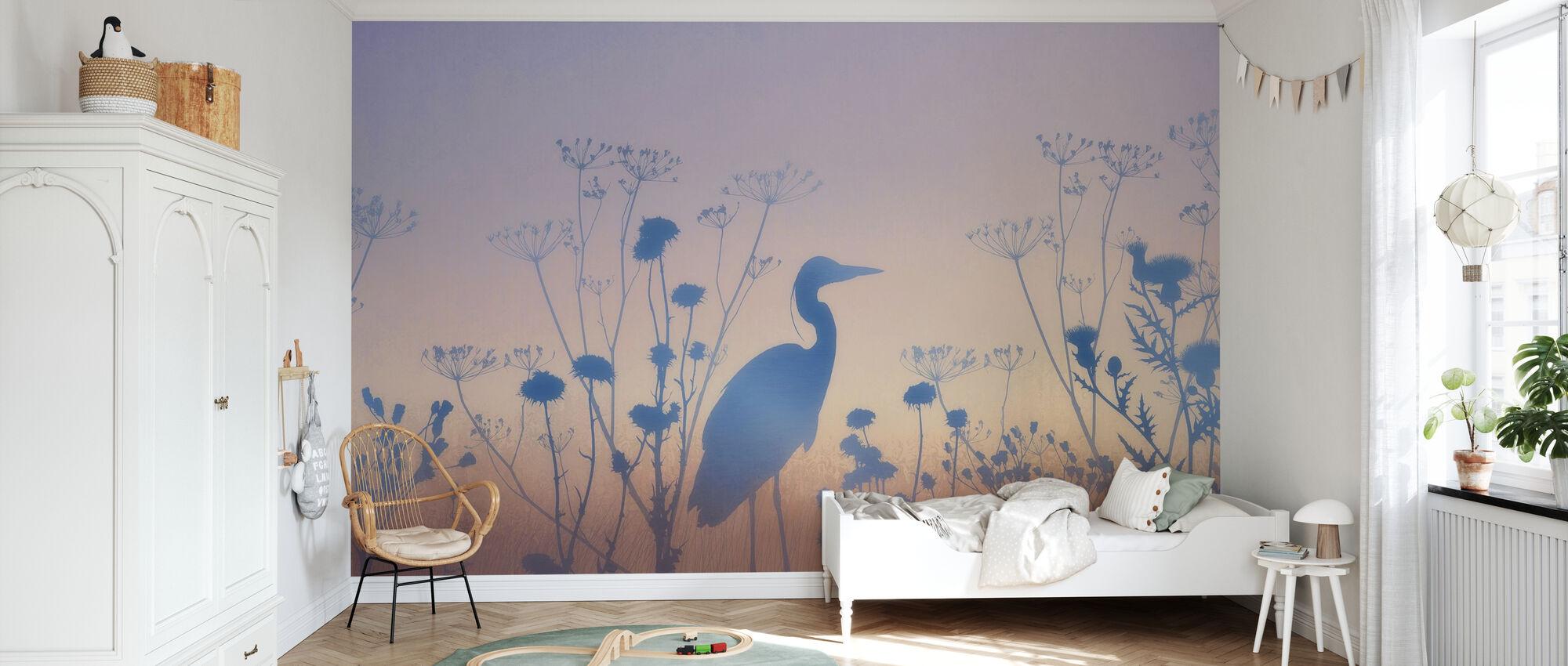 Blauwe Dawn Silhouetten - Behang - Kinderkamer
