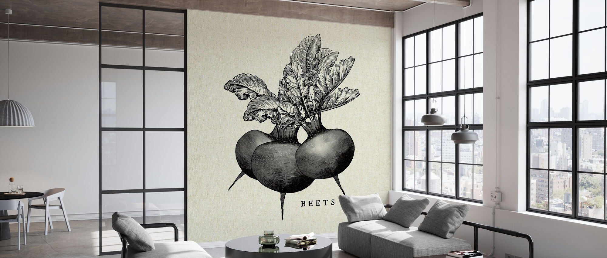 Kitchen Illustration - Beets - Wallpaper - Office