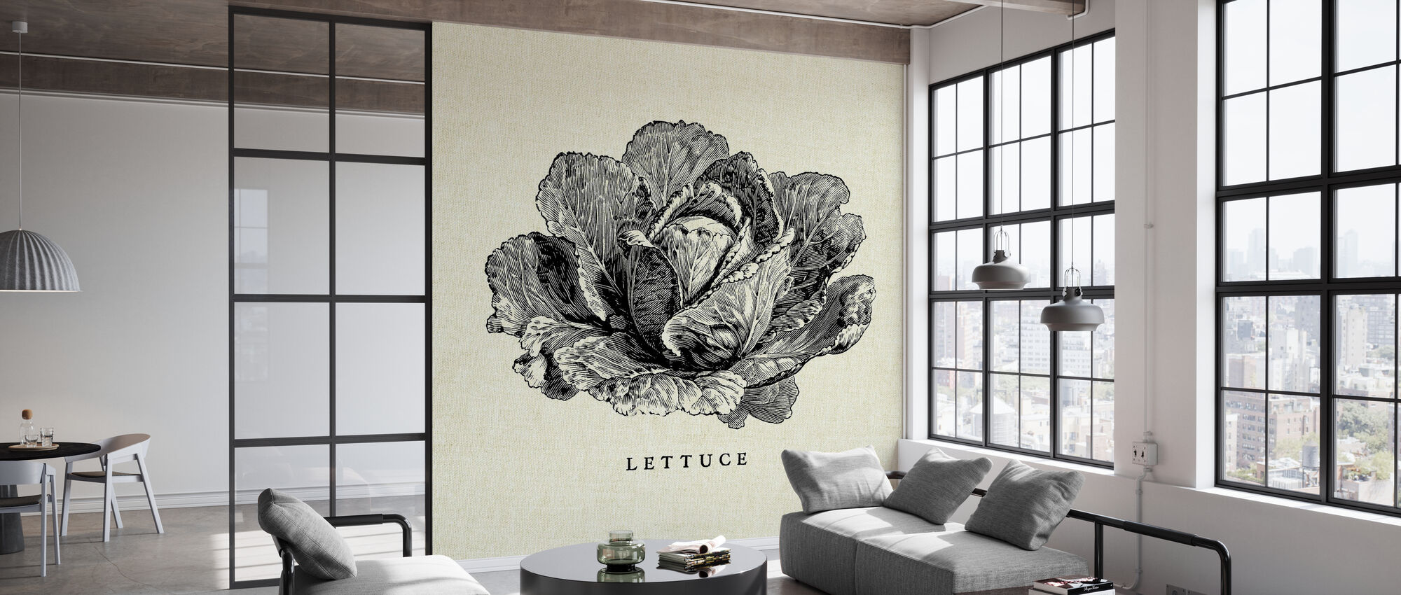 Kitchen Illustration - Lettuce - Wallpaper - Office