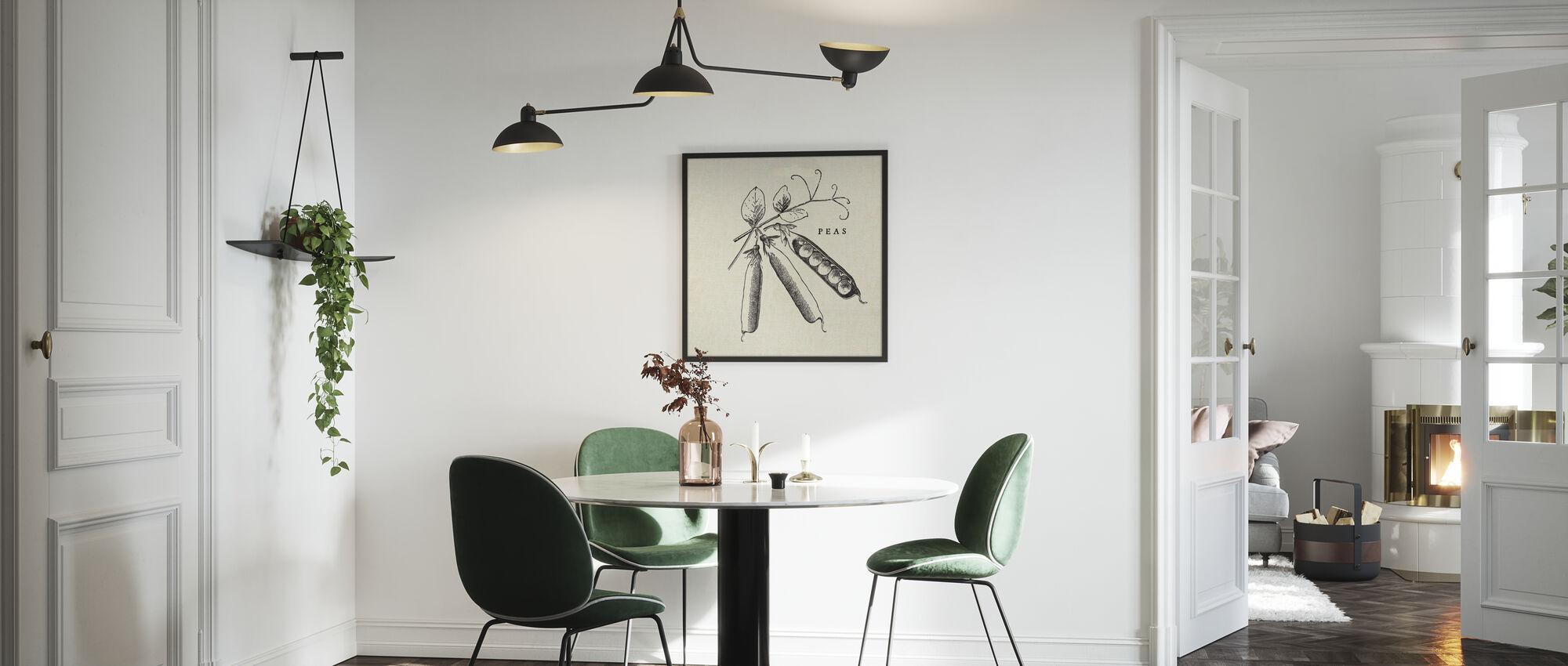 Kitchen Illustration - Peas - Framed print - Kitchen