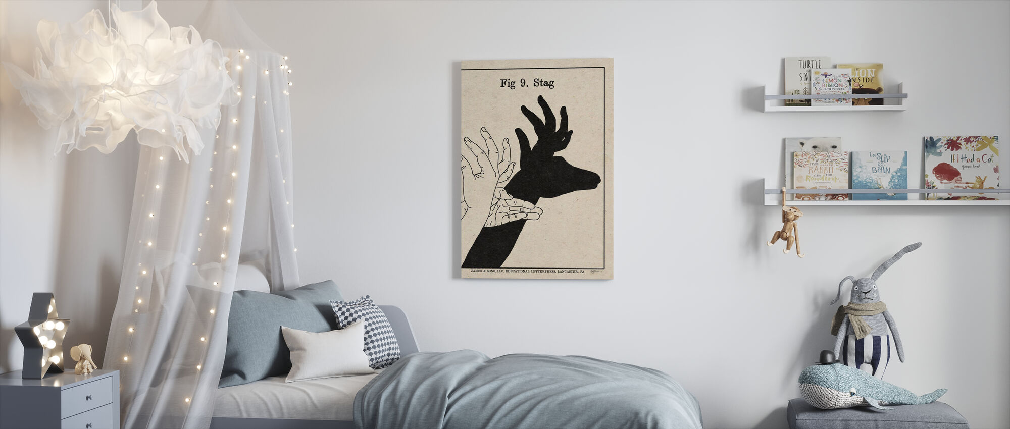 The Art of Shadows - Stag - Canvas print - Kids Room
