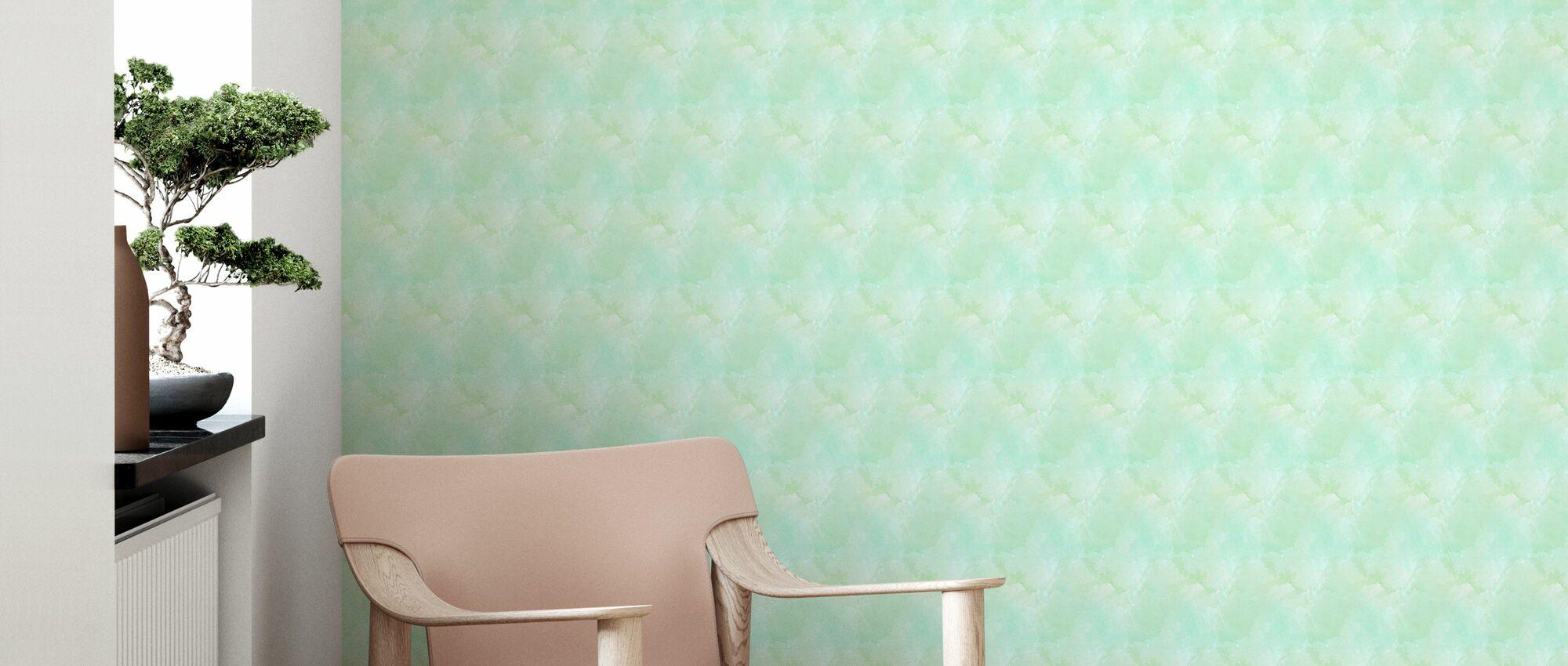 Aquarelles Vert - Papier peint - Salle à manger