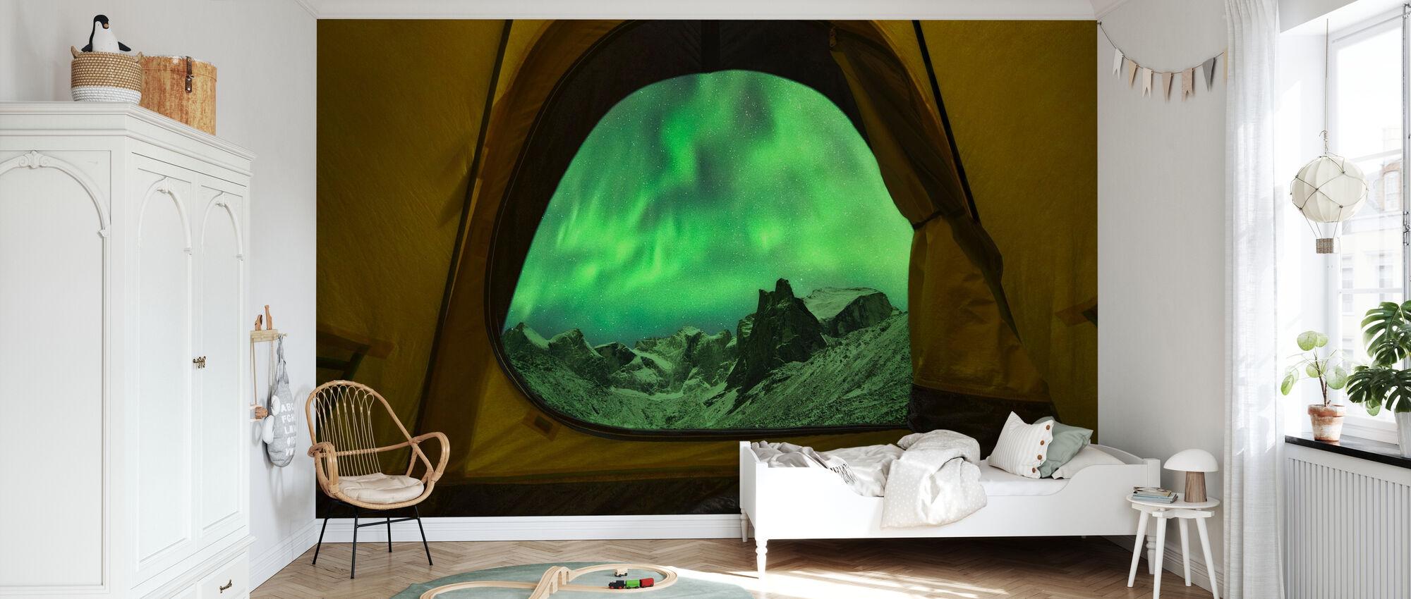 Aurora Borealis Seen from Tent, Alaska - Wallpaper - Kids Room