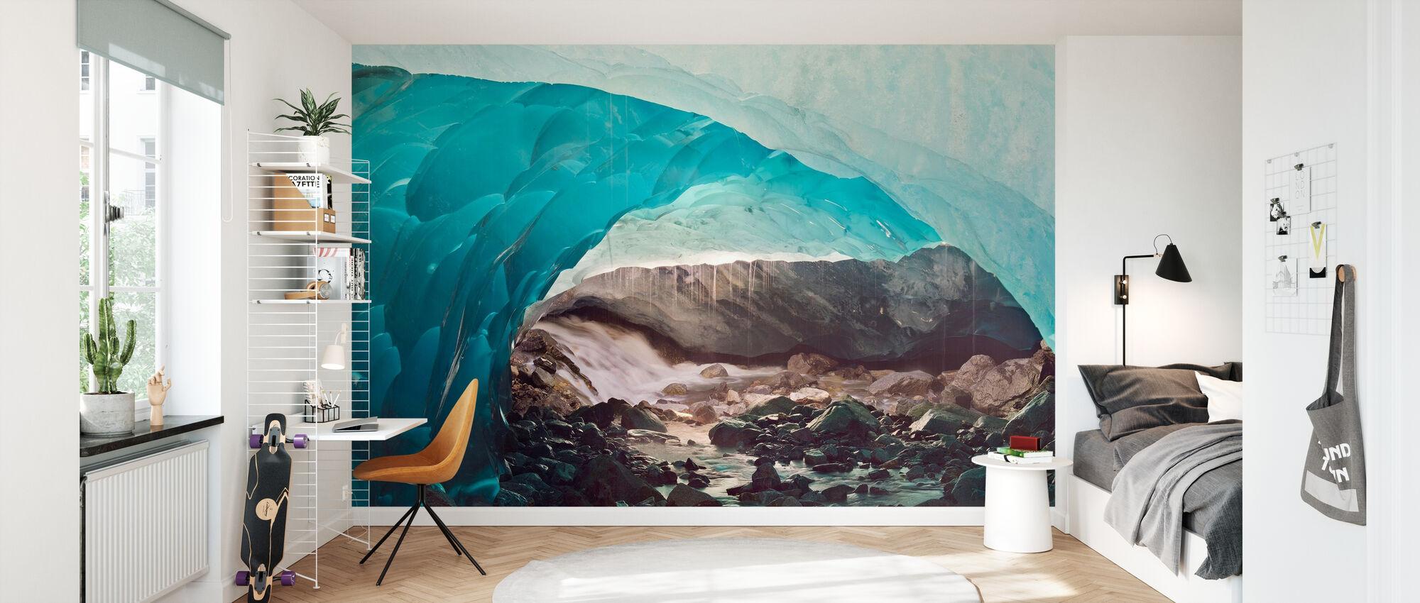 Ice Cave Melting in Mendenhall Glacier, Alaska - Wallpaper - Kids Room