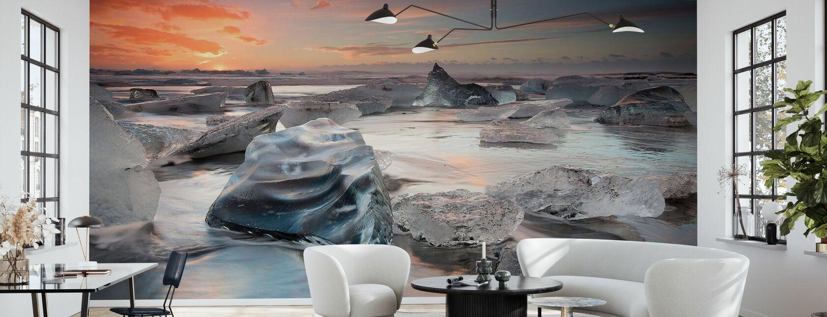Glacial Lagoon Beach - Wallpaper - Living Room