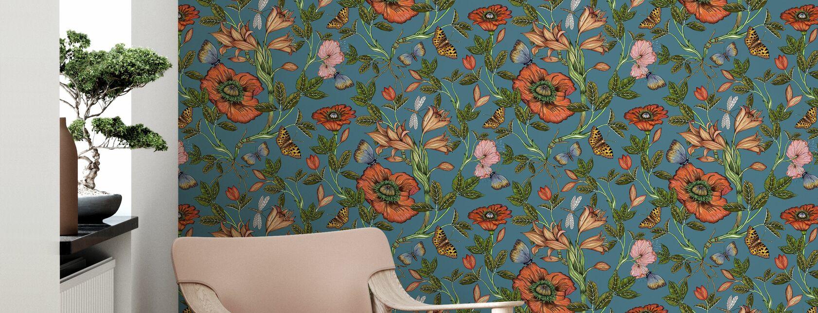 Lily Blue - Wallpaper - Living Room