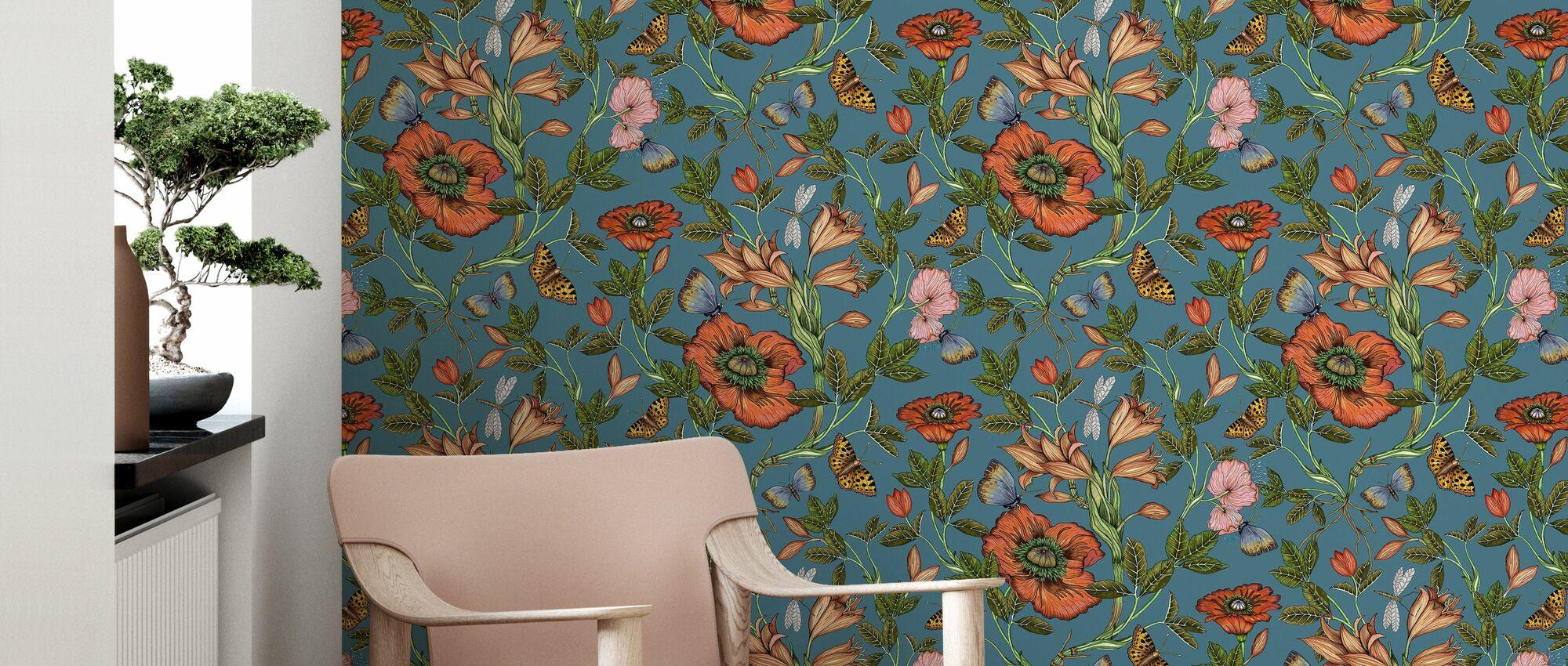 Lilie Blau - Tapete - Wohnzimmer