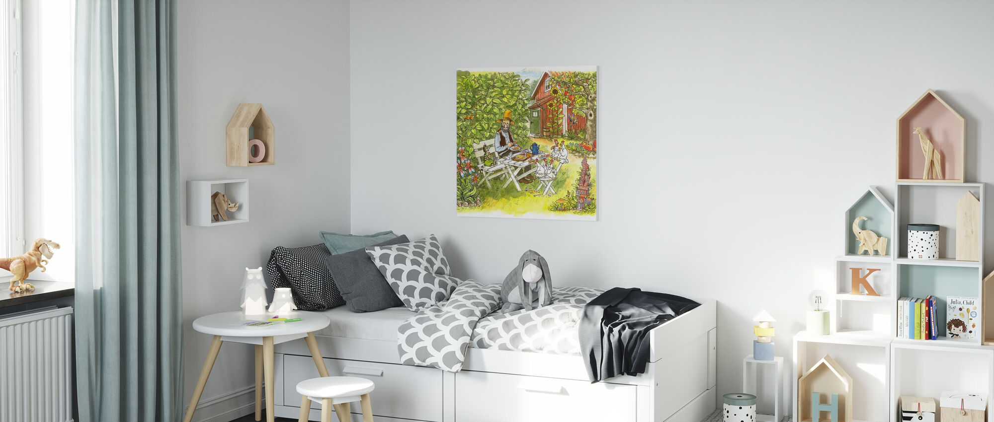 Pettson en Findus - Pannenkoekenlunch in de tuin - Canvas print - Kinderkamer