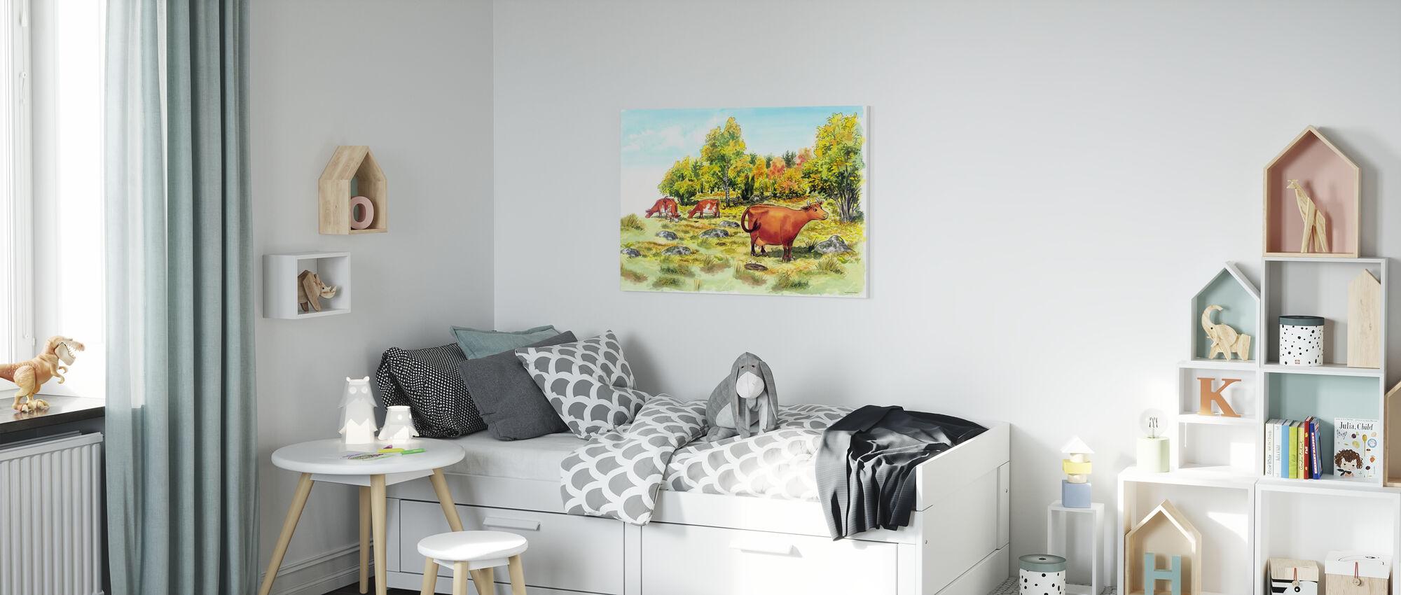 Mom Mu & Crow -Mom Mu - Canvas print - Kids Room