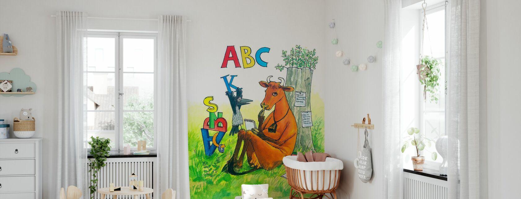 Mor Mu & krage - mor Mu ABC - Tapet - Babyværelse