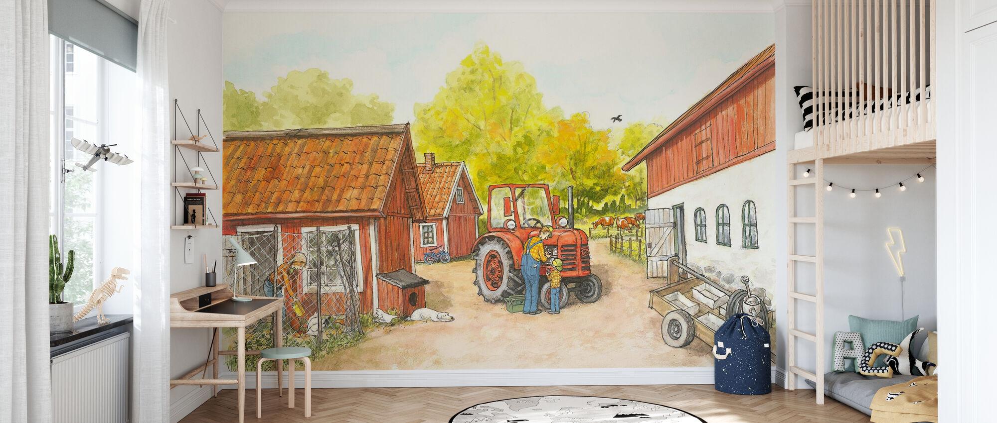 Moeder mu & kraai - De boerderij - Behang - Kinderkamer
