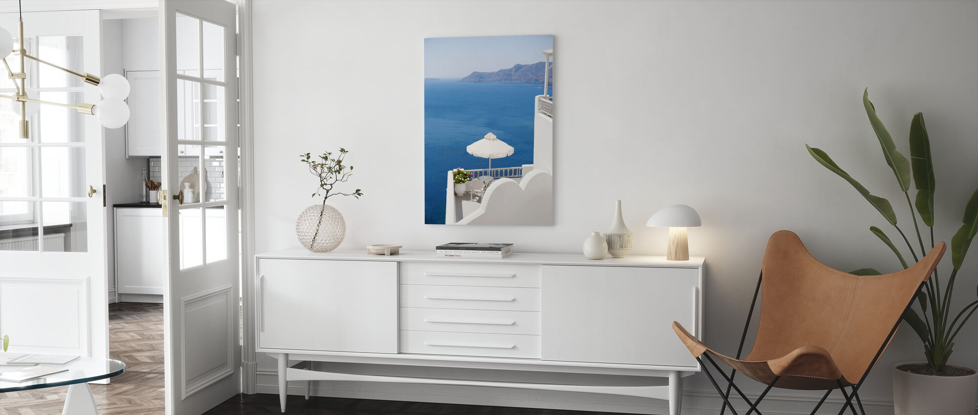 Santorini Sea - Canvas print - Living Room