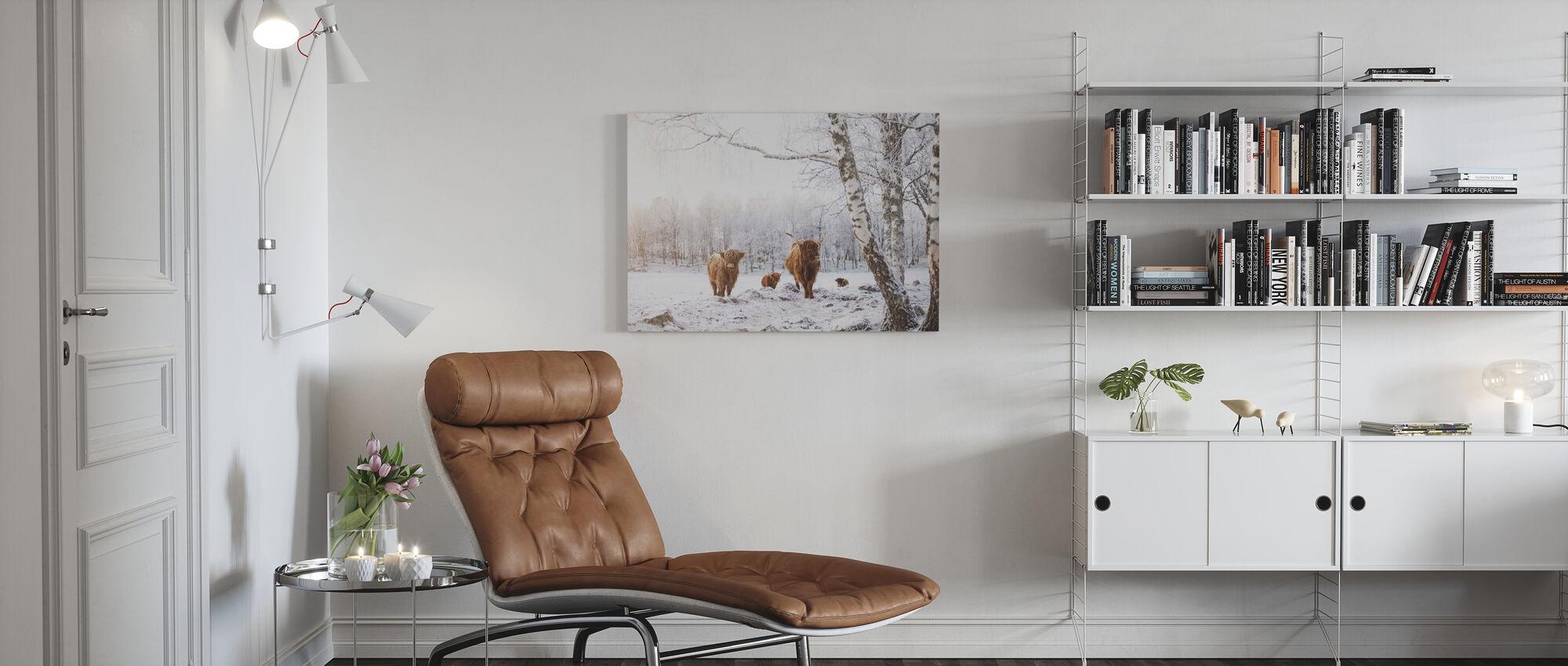 Kveger i snø - Lerretsbilde - Stue