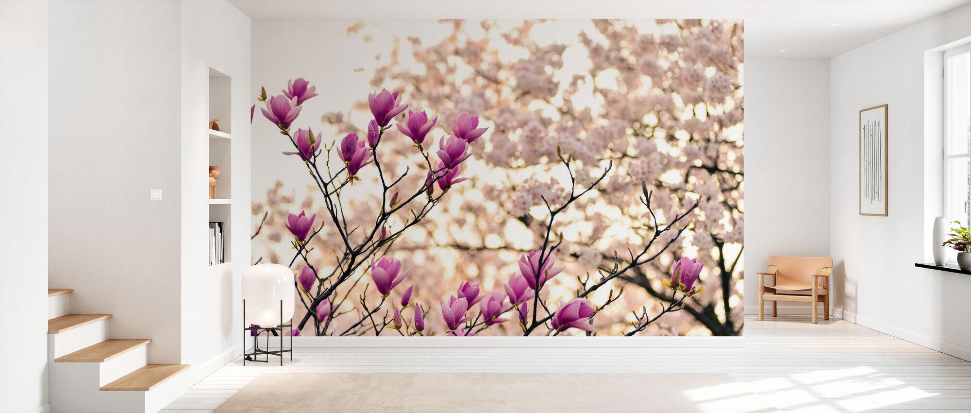 Magnolia Blommor - Tapet - Hall