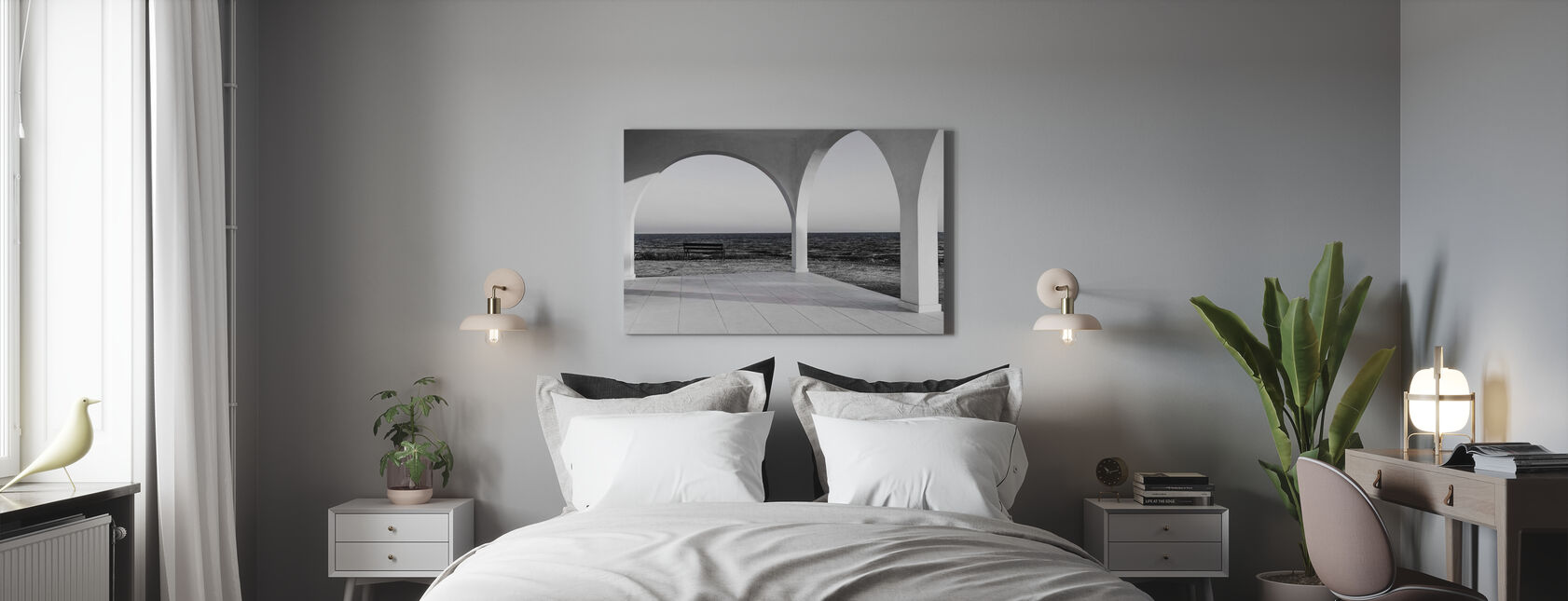 Mustavalkoinen - Canvastaulu - Makuuhuone
