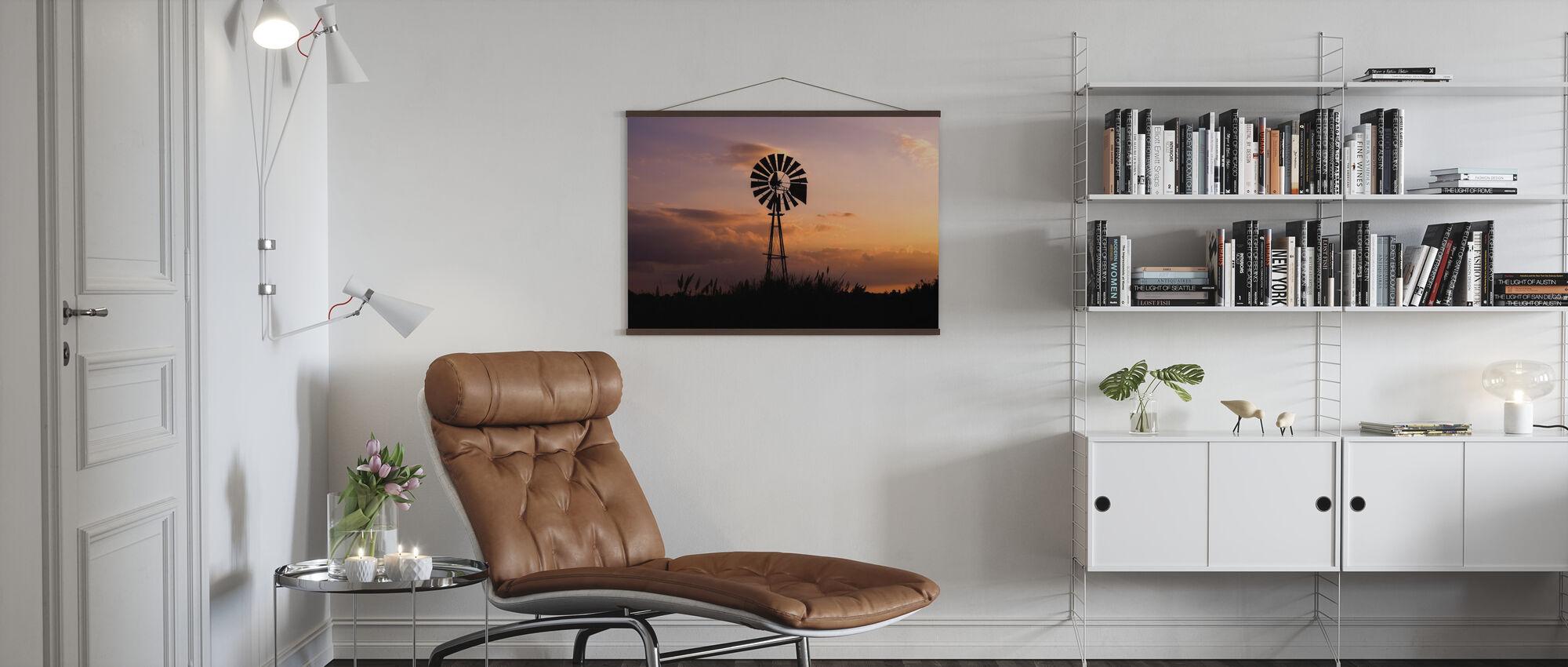 Windmill Sunset - Poster - Living Room