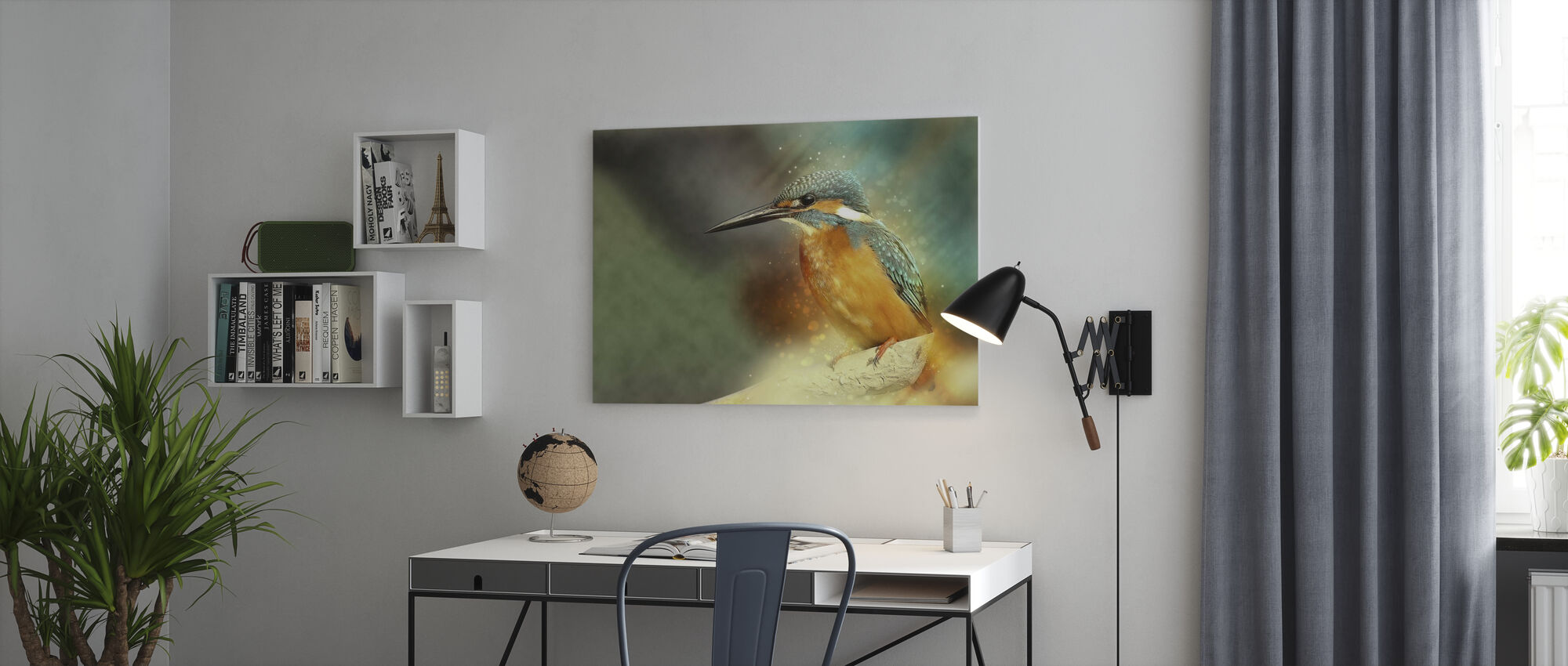 Perched Kingfisher - Canvas print - Office