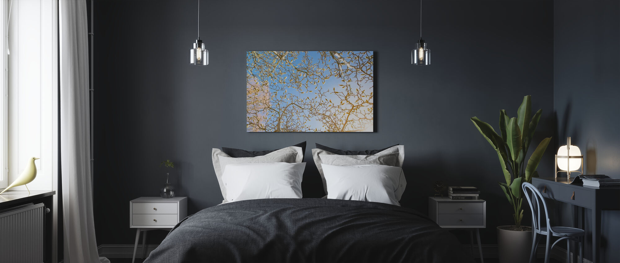 Påsk och grenar - Canvastavla - Sovrum