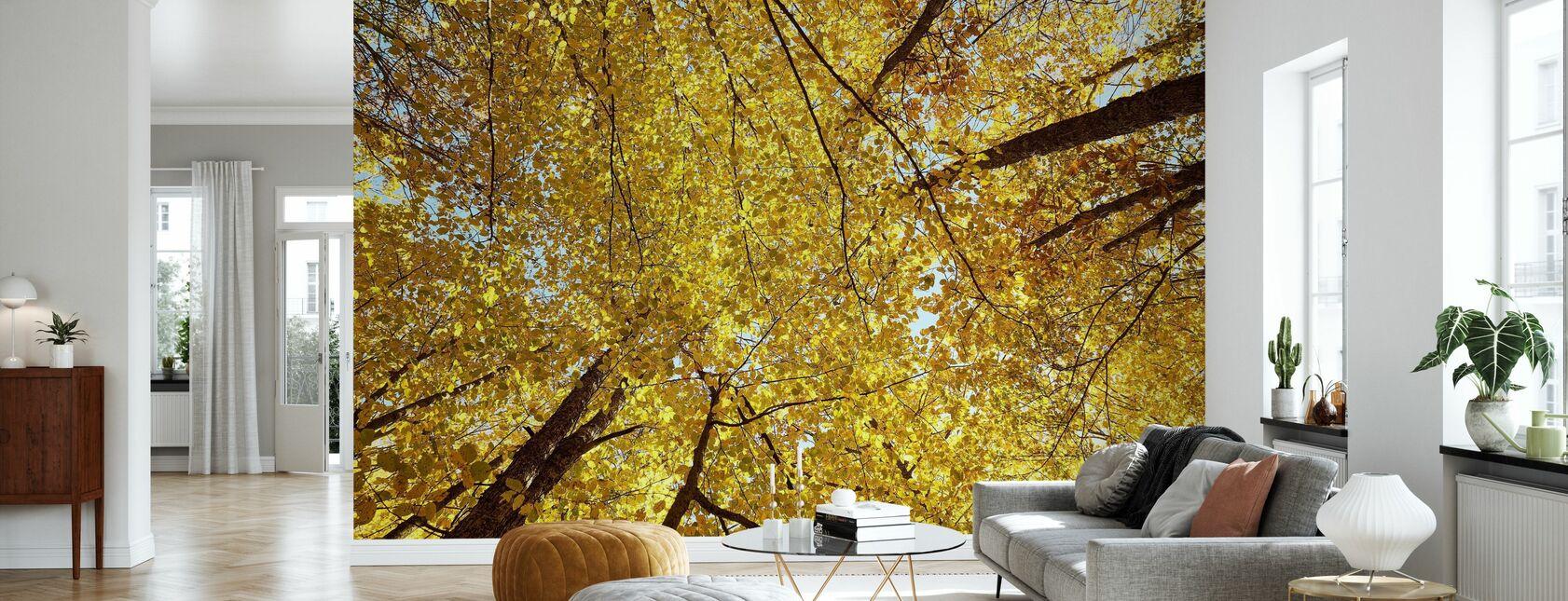 Yellow Autumn Leaves - Wallpaper - Living Room