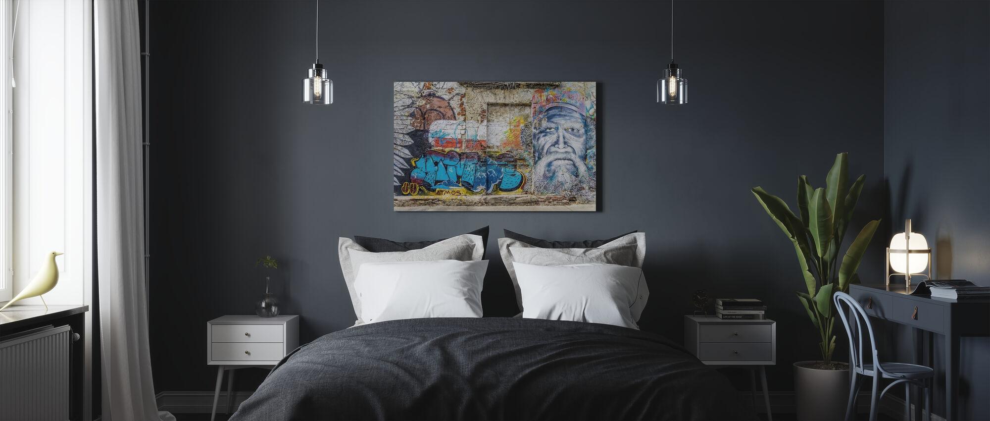 Seinä graffiti - Canvastaulu - Makuuhuone