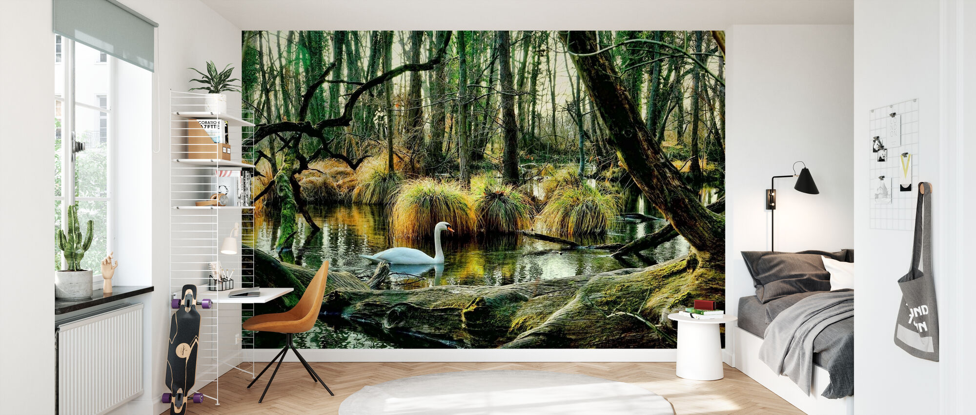 Swan in Swamp - Wallpaper - Kids Room