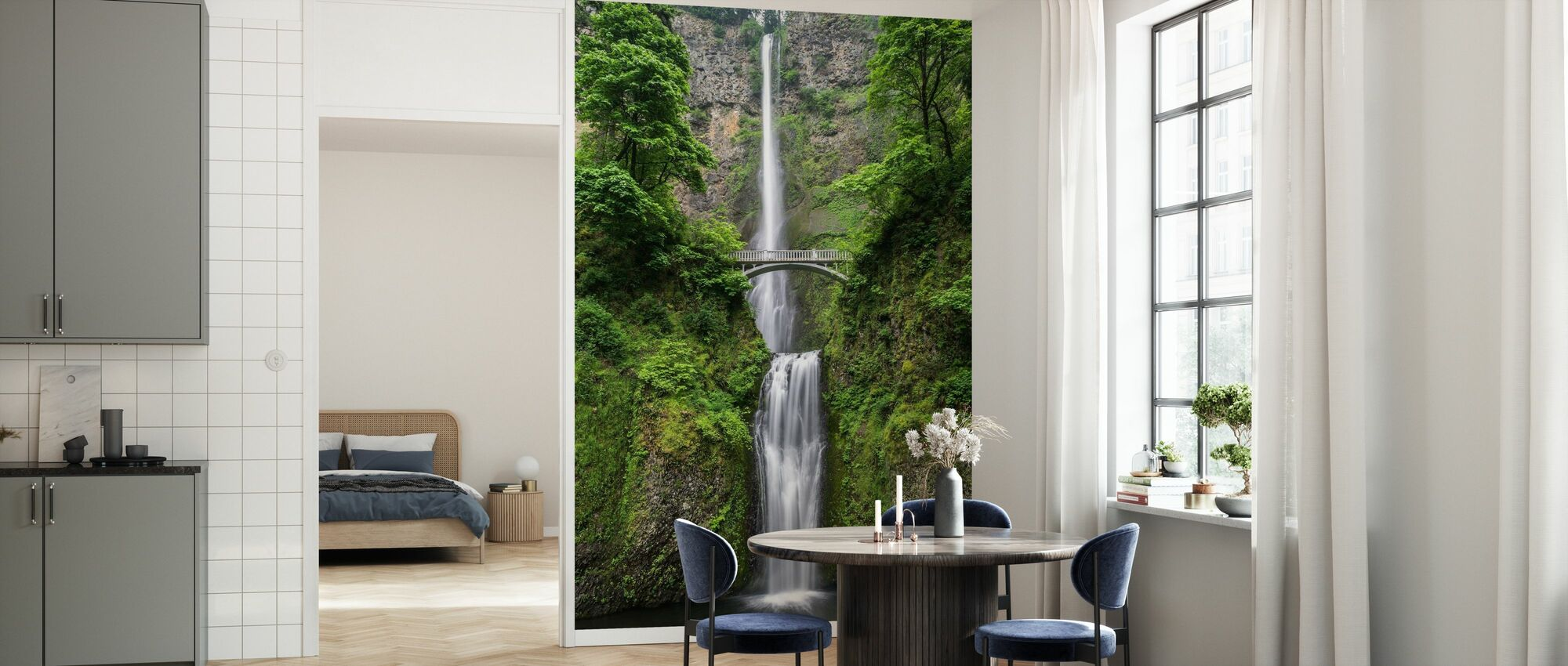 Waterwall and Bridge - Wallpaper - Kitchen