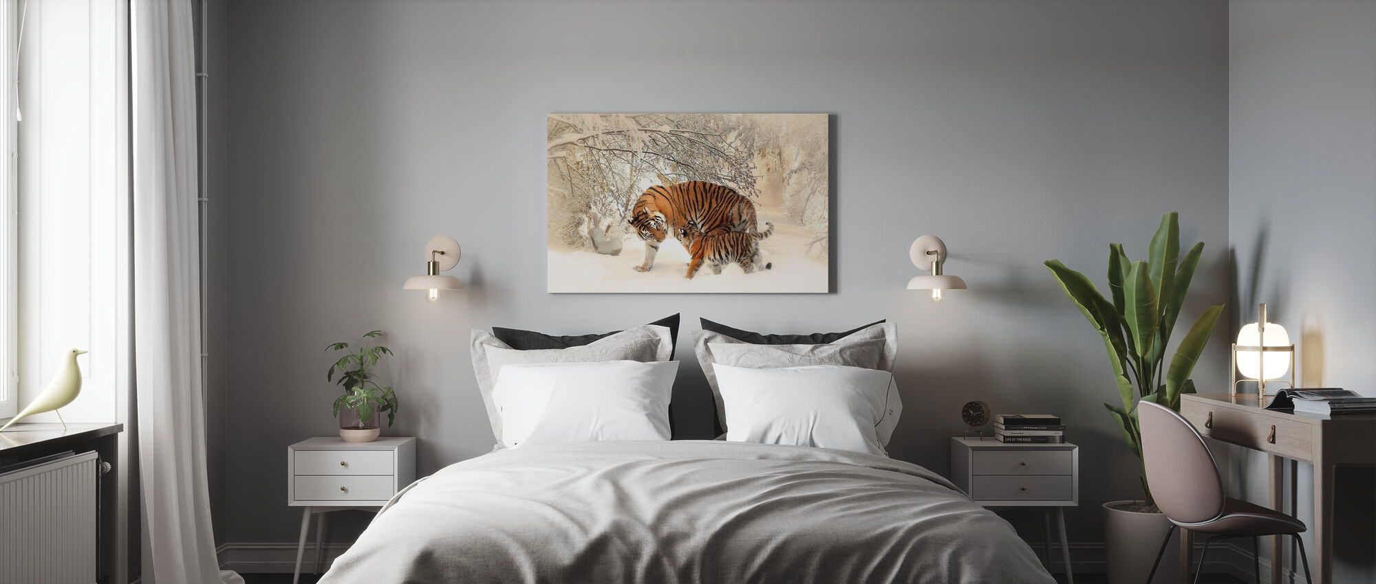 Tijger met jonge welp - Canvas print - Slaapkamer