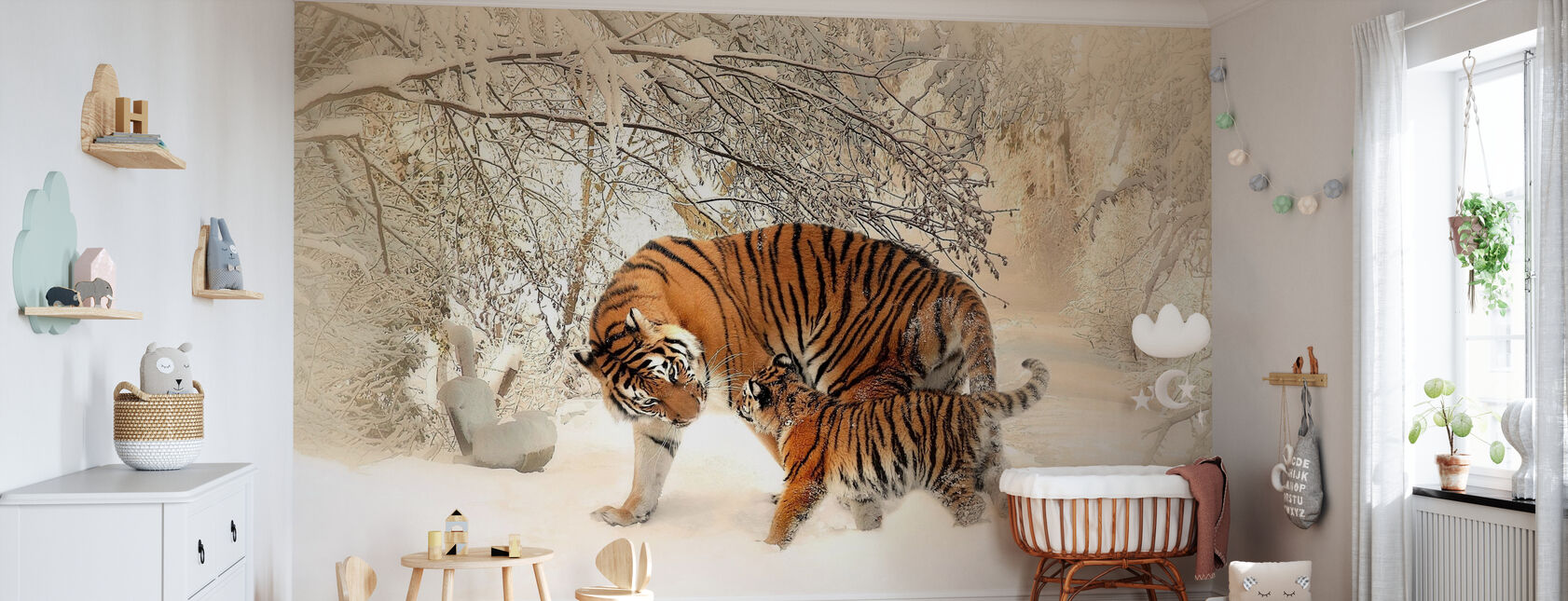 Tiger with Young Cub - Wallpaper - Nursery
