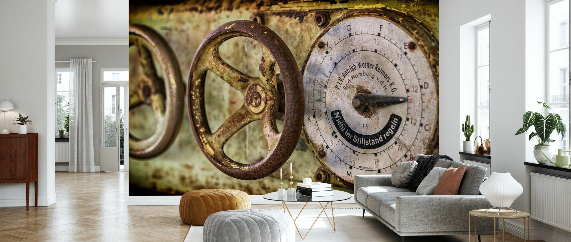 Rusty Gauge and Wheel - Wallpaper - Living Room