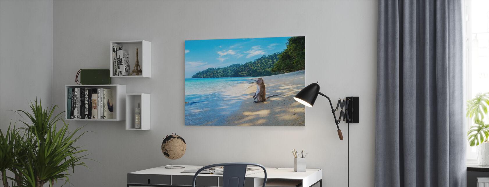 Ape ved stranden - Lerretsbilde - Kontor