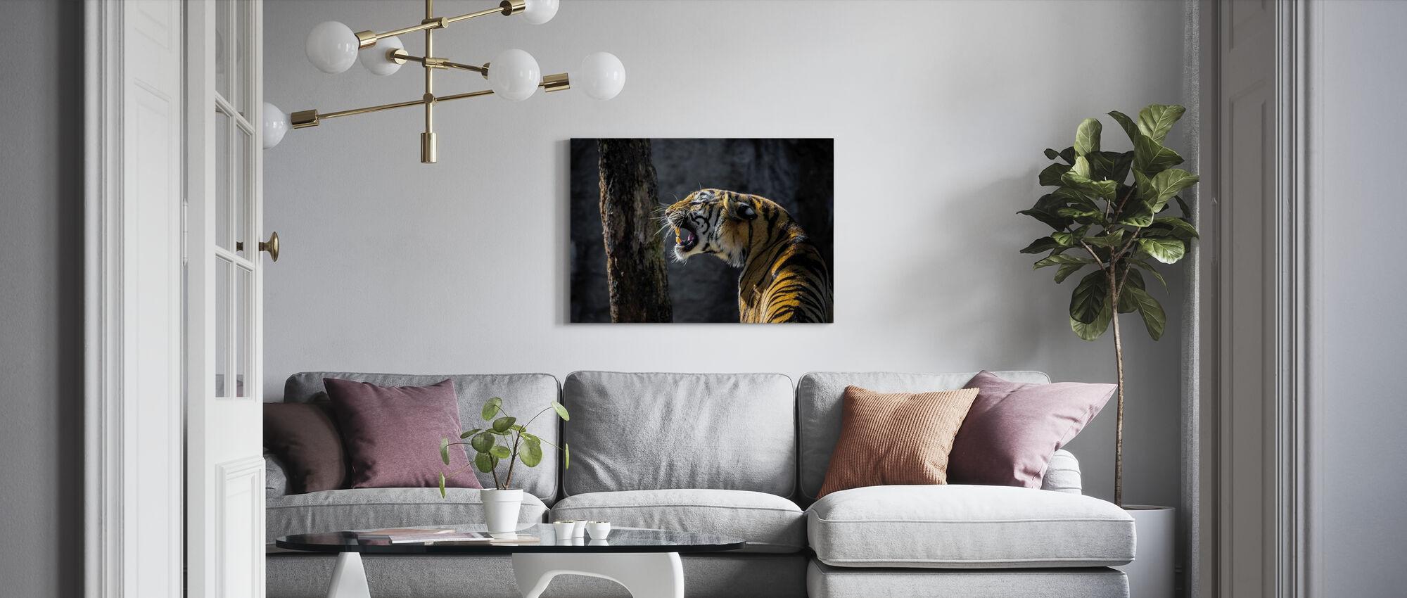 Tijger brullend - Canvas print - Woonkamer