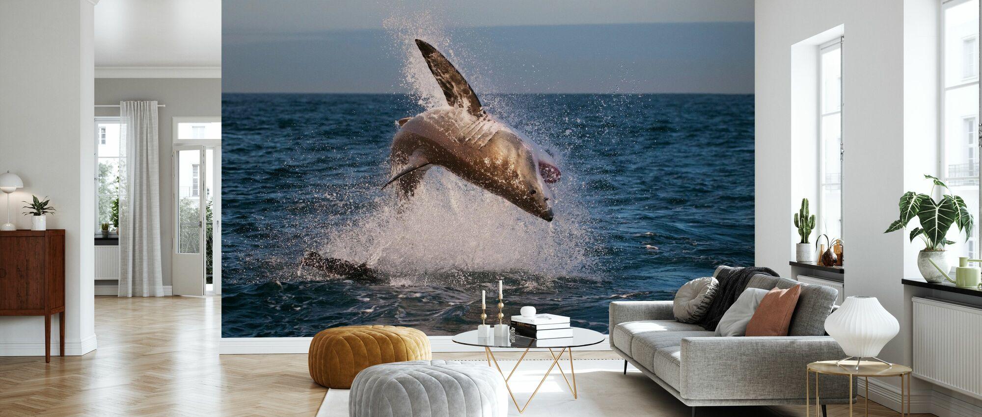 Breaching Great White Shark - Wallpaper - Living Room