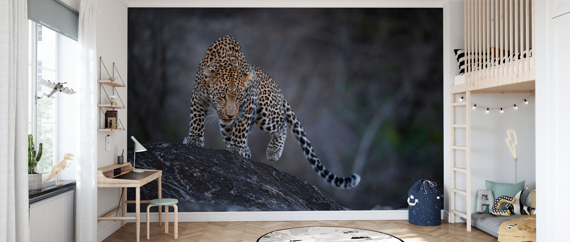 Leopard on a Rock - Wallpaper - Kids Room
