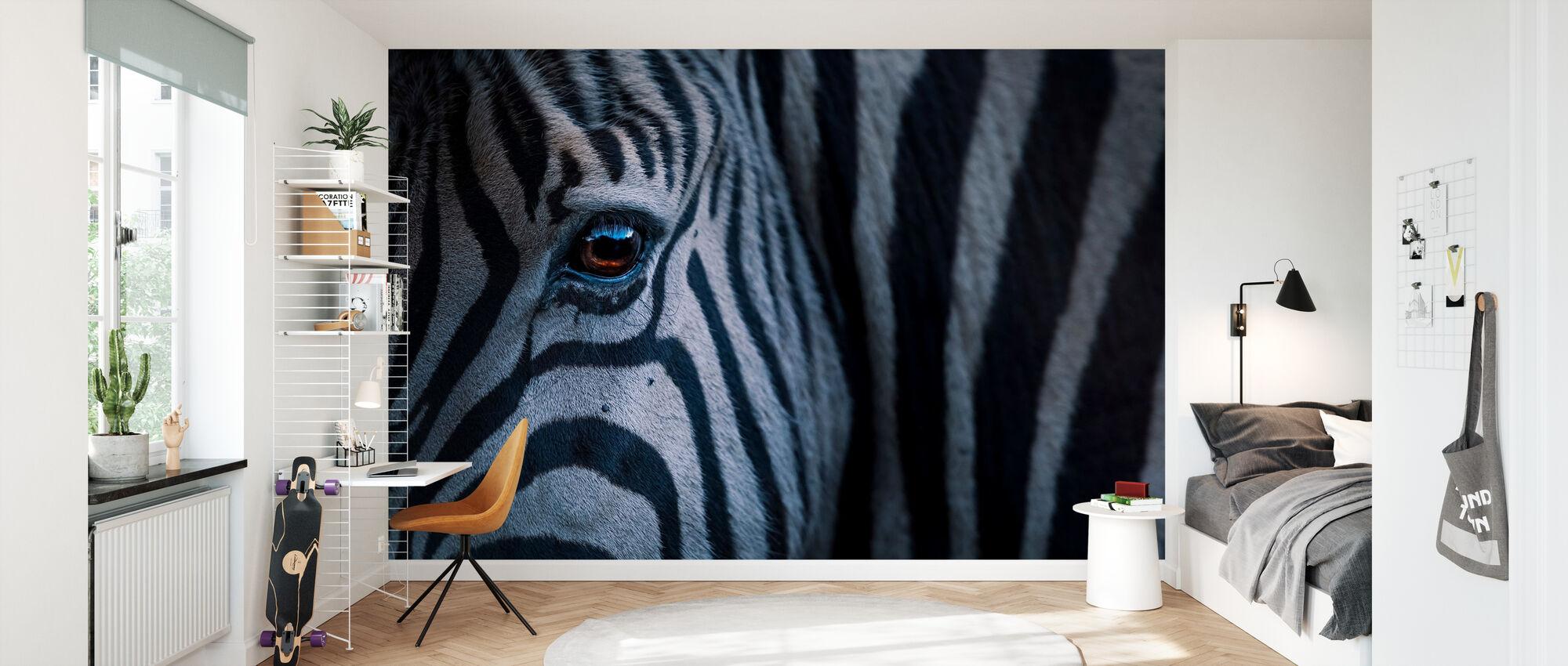 Plains Zebra Close Up - Wallpaper - Kids Room