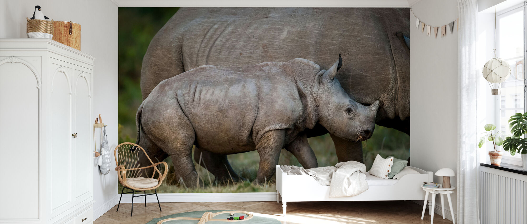 White Rhinoceros Calf with Mother - Wallpaper - Kids Room