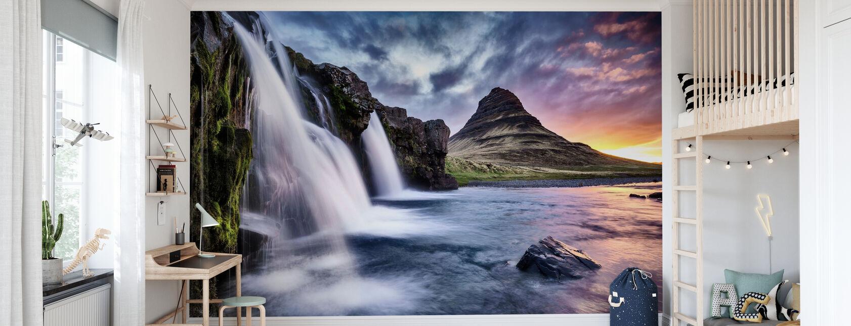 Sunset at Kirkjufellsfoss Waterfall - Wallpaper - Kids Room