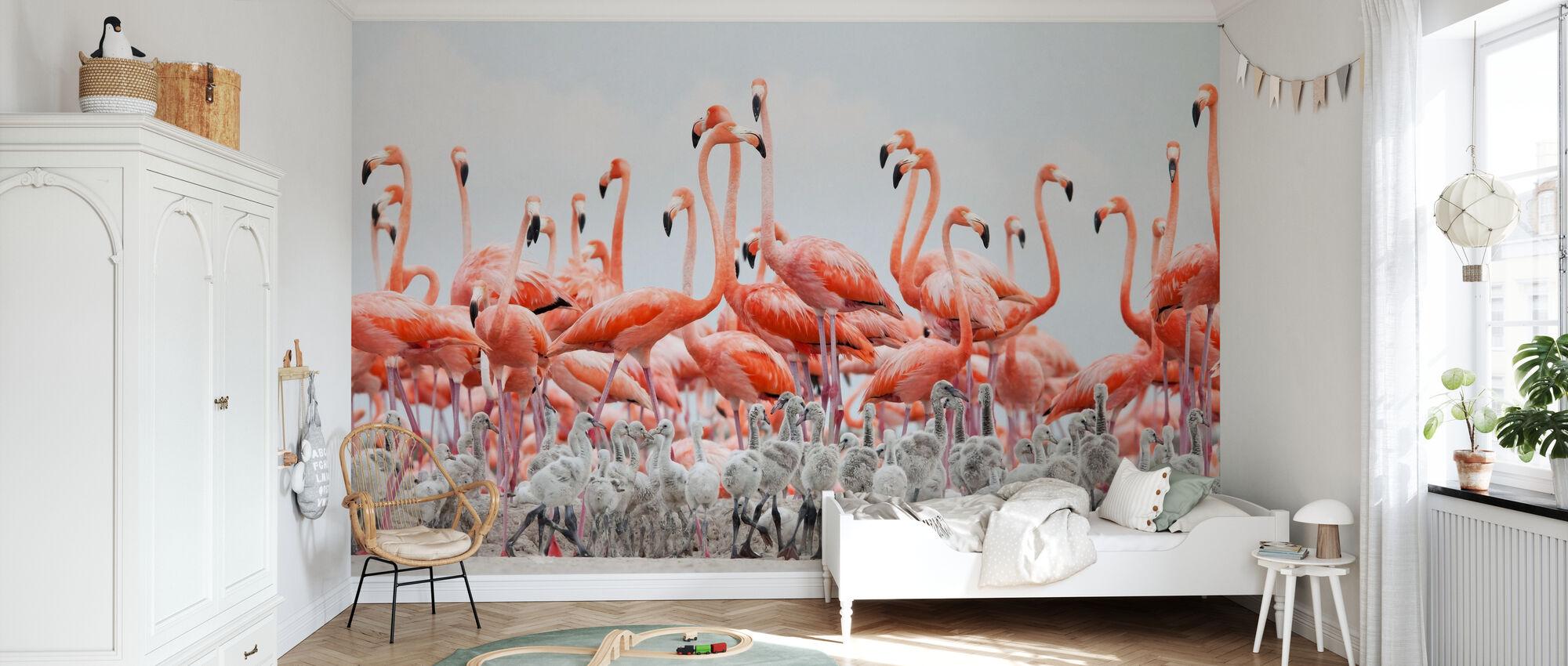 Caraïbische Flamingo - Behang - Kinderkamer