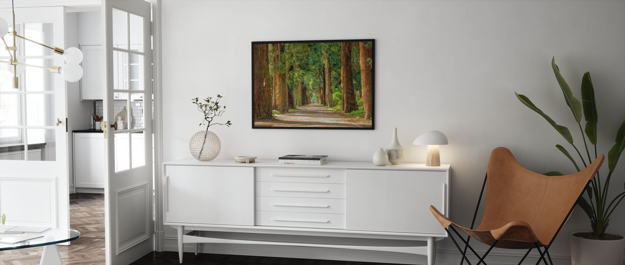 Pathway Between Trees - Framed print - Living Room