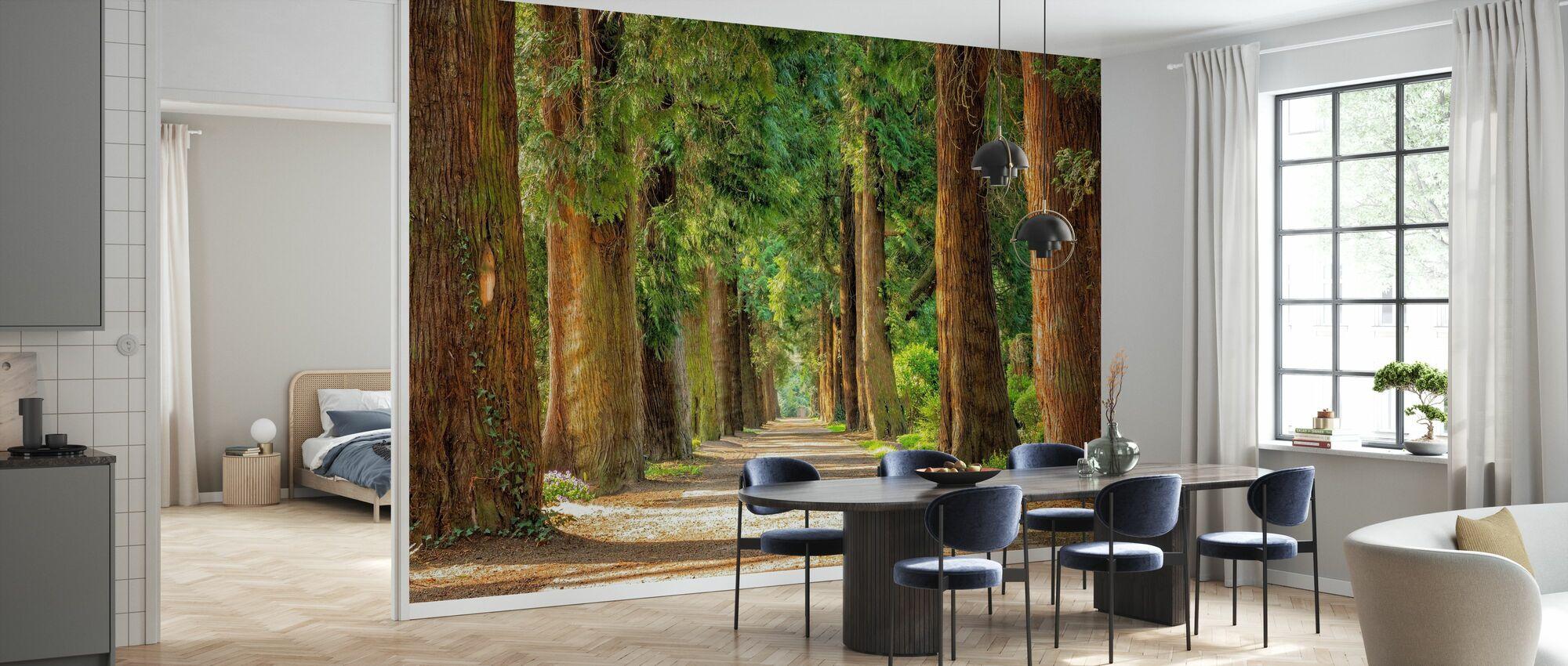 Pad tussen bomen - Behang - Keuken