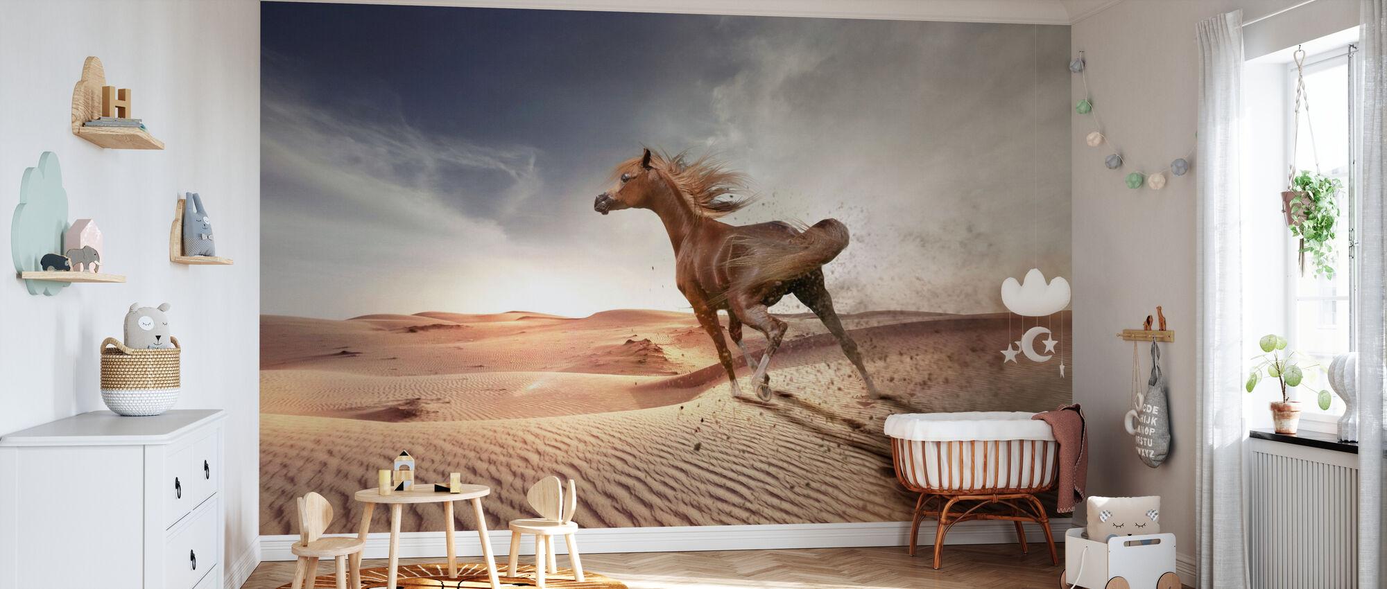 Running Horse in the Desert - Wallpaper - Nursery
