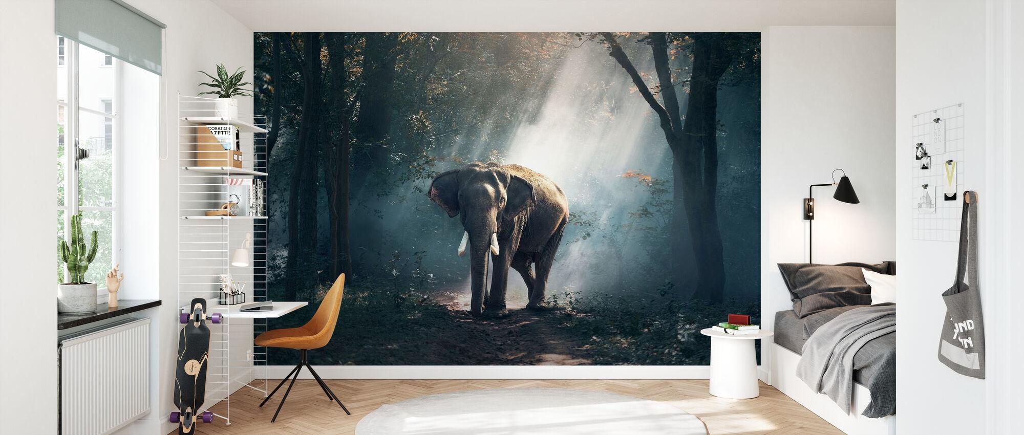 Olifant in het bos - Behang - Kinderkamer