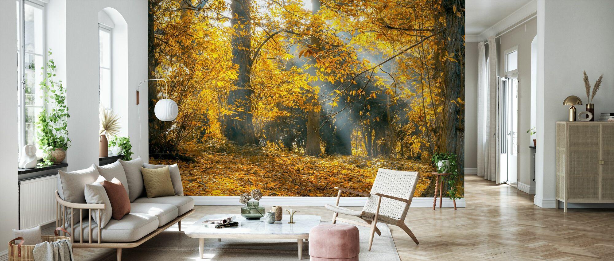 Keltainen Syksyn lehdet - Tapetti - Olohuone