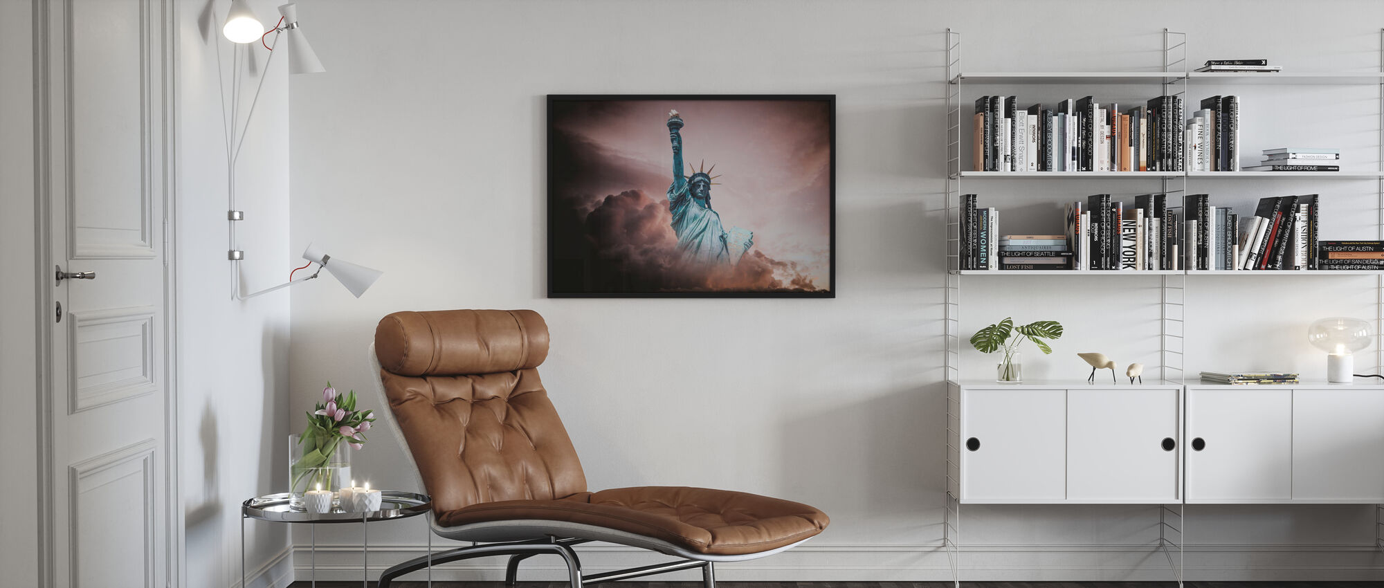 Statue of Liberty in Clouds - Framed print - Living Room