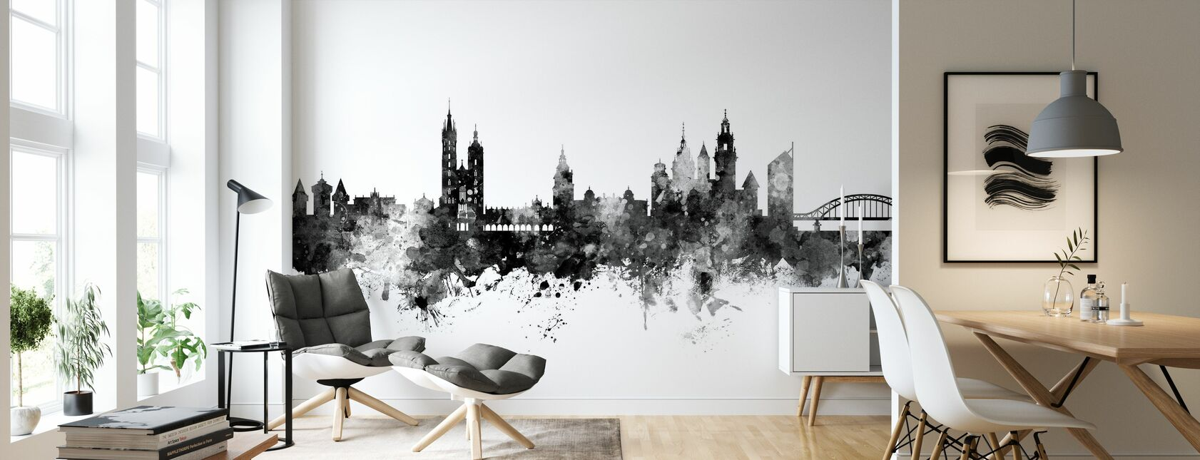 Krakow Polen Skyline Svart - Tapet - Vardagsrum