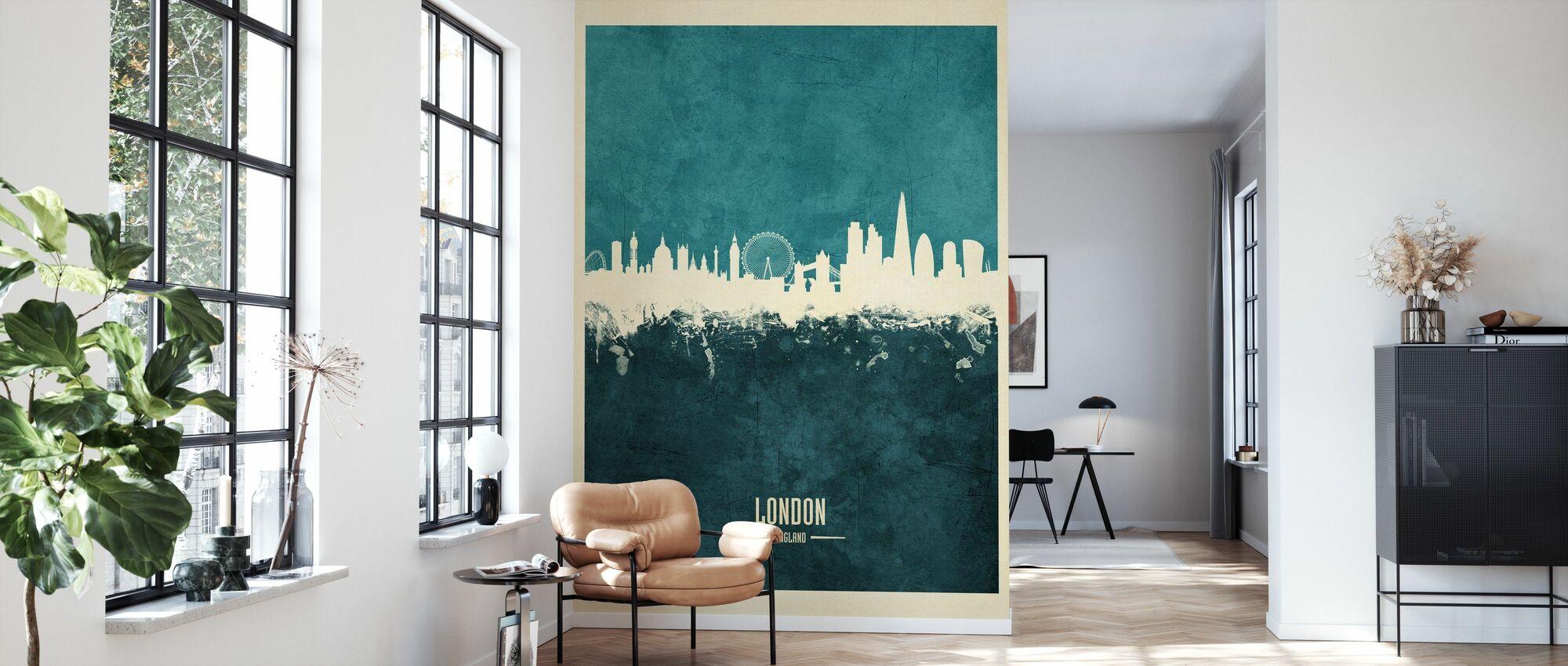 London England Skyline Blå - Tapet - Stue