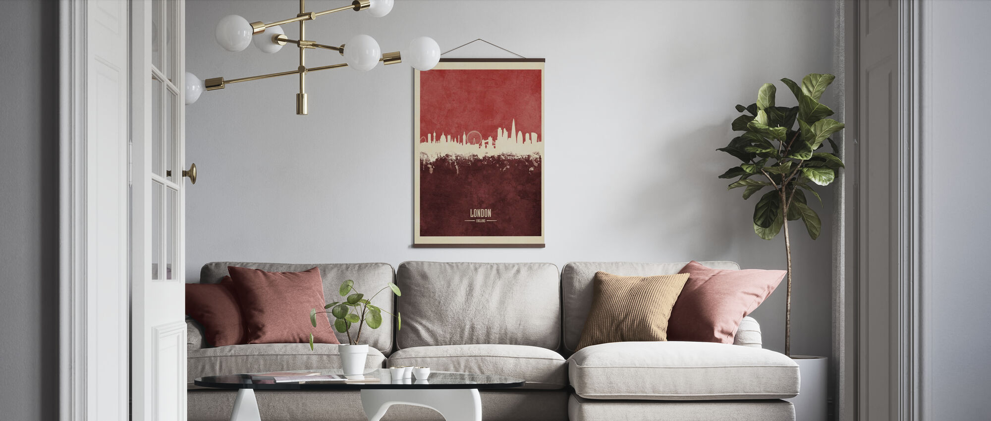 London England Skyline Red - Poster - Living Room