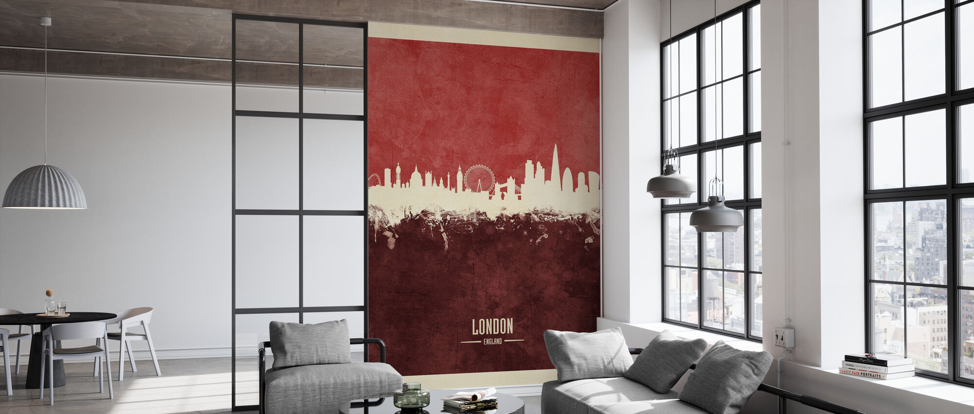 London England Skyline Red - Wallpaper - Office
