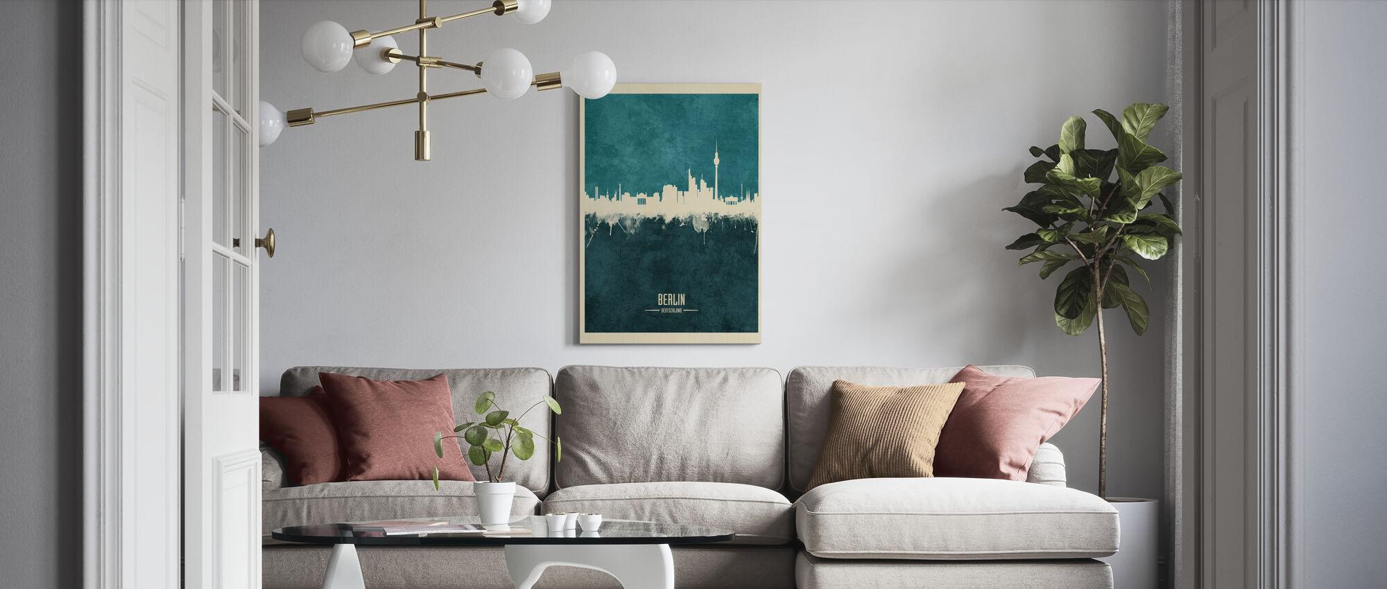Berlin Germany Skyline Blue - Canvas print - Living Room