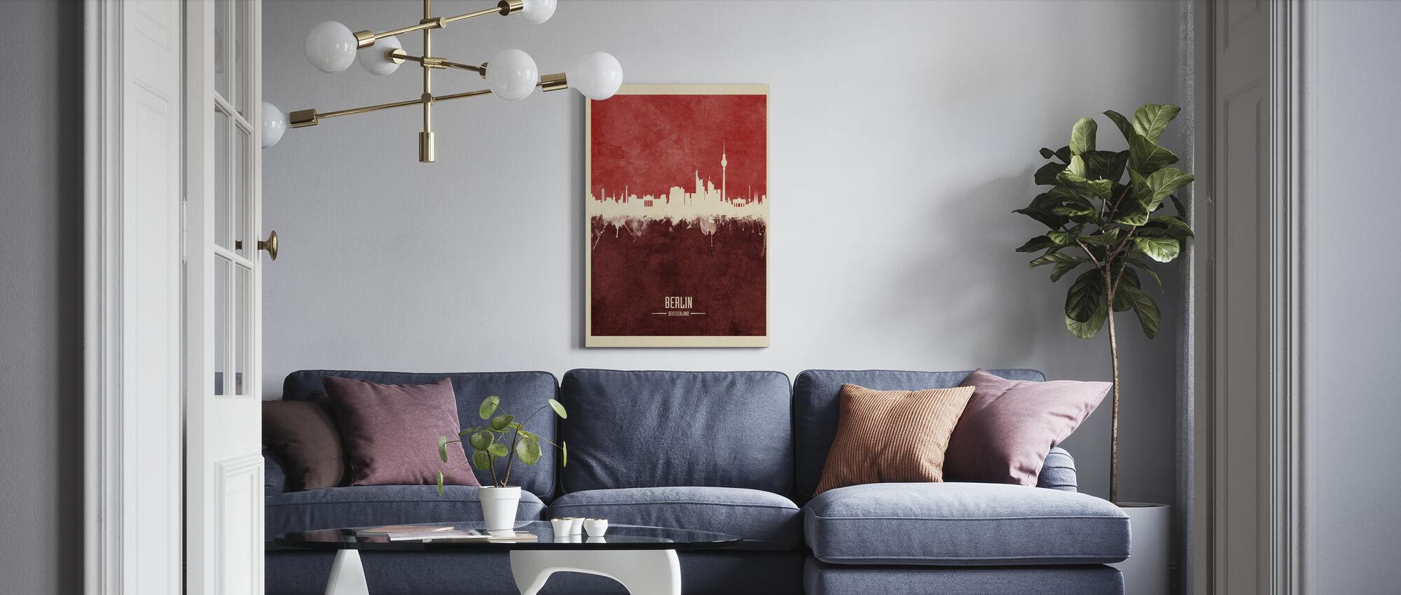 Berlin Germany Skyline Red - Canvas print - Living Room